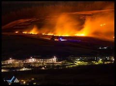 Grass fire on the Bwlch mountain above Nantymoel (Fatdeeman) Tags: mountain grass fire bush smoke flames vale burning valley ogmore bridgend bushfire grassfire bwlch ogmorevale nantymoel ogmorevalley bwlchmountain