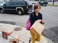 Leanne (BurlapZack) Tags: street portrait home girl corner truck downtown traffic suburban cone walk wideangle neighborhood sidewalk homestead crosswalk suv stroll trafficcones cones shoppingbag dimestore errands dentontx midstride homeiswherethecatis vscofilm olympusomdem5 olympusmzuiko17mmf18
