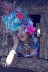 MA36 (nataliehenderson) Tags: pink flowers blue portrait woman sun love strange beauty fashion marie canon garden costume spring big pretty glow character creative warmth makeup wig portraiture antoinette melancholy conceptual avant garde whimsical effie trinket 6d