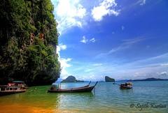 Hong Island | Thailand (Sajith Kurian) Tags: tourism dynamic floating tourist phuket attraction in attaraction alpbeachblueskyboatcanon7dclearwaterclouds hdrhongislandphangngabay sajithkuriansunnydaythailandtourkabrilongtailedboattonika1116tourist