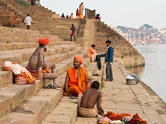 Sadhus in conversation (Dick Verton ( more than 13.000.000 visitors )) Tags: travel people orange india asia sitting streetlife streetscene sit varanasi seated streetview sadhu ganges ghats cityview streetshot dickverton