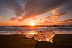Jokulsarlon Sunrise (Tracey Whitefoot) Tags: winter black ice beach sunrise dawn iceland sand lagoon glacier block tracey jokulsarlon 2015 whitefoot