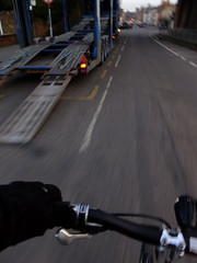 Phew! Missed it! (stevenbrandist) Tags: road bicycle cycling cyclist leicestershire leicester commute commuting hazard transporter mountsorrel moulton