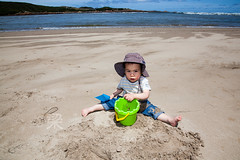 Master architect (Gomerama) Tags: beach bucket sand toddler australia tasmania arthurriver ourboy 2013 masterarchitect gomerama