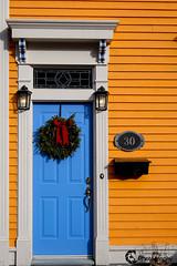 30 (Dolores Harvey) Tags: christmas door canada heritage yellow 30 newfoundland wooden nikon stjohns neighbourhood bluedoor d800 christmaswreath newfoundlandandlabrador newfoundlandlabrador doloresharvey canvassingtheneighbourhood canvassingtheneighbourhoodcom canvassingtheneighbourhoodphotography