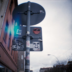 Berlin (somekeepsakes) Tags: berlin film analog germany square deutschland blurry lomography europa europe toycamera obey analogue 2010 quadratisch plasticlens dmparadies200 dianamini