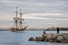 Lady Washington (DeniseDewirePhotography) Tags: ocean clouds fishing rocks tallships ladywashington venturaharbor