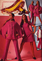 Aldens 70 fw pink outfits (jsbuttons) Tags: pink vintage clothing buttons womens 70s cape catalog 1970 seventies aldens buttonfront