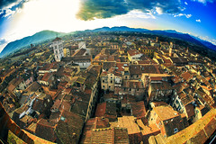 Planet Lucca (Arutemu) Tags: city italien light sunset urban italy panorama sun sunlight architecture canon lens landscape twilight europe italia european cityscape sundown dusk perspective eu ciudad lucca medieval fisheye tuscany toscana renaissance birdseyeview                canon6d
