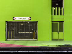 Green Exit Houston 1 (Mabry Campbell) Tags: street usa green art wall photography design photo gate downtown texas photographer image unitedstatesofamerica fineart may houston hasselblad photograph 100 24mm exitsign fineartphotography f63 2016 commercialphotography sec tse24mmf35lii hariscounty mabrycampbell h5d50c may42016 20160504campbellh6a5761
