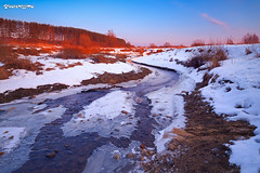 Myshkino Village, Russia.  , . (kotenissimo) Tags: pink blue winter sunset sky white snow ice river landscape countryside frozen stream glare village purple russia direction outback