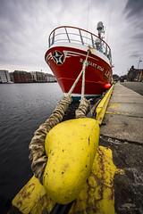 Fishing boat on bryggen in Bergen Norway. (huddart_martin) Tags: city norway boat norge harbour rope bergen tau fishingboat bryggen