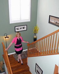 A New Angle (krislagreen) Tags: pink black pumps feminine cd femme hose tgirl transgender blond transvestite crossdress tg cardi bolero patent feminization pageboy feminized