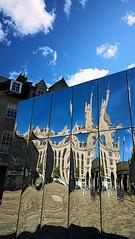Castlegate reflections 15 (Golux.) Tags: blue sky distortion reflection sunshine square mirror scotland artwork photographer distorted citadel sunny reflected aberdeen installation granite flagstone castlegate
