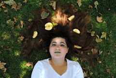 Harvest (Silvaflos) Tags: trees summer portrait moon mountains green nature girl grass leaves fruit modern night forest stars spring mercury surrealism space makeup frame apples conceptual
