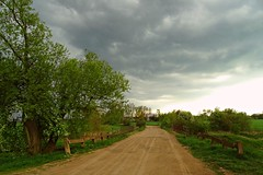 the clouds gathering... (JoannaRB2009) Tags: clouds sky storm path road nature trees landscape view tree dzkie lodzkie polska poland spring