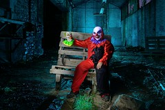 To let out our inner clown... (palateth) Tags: lightpainting night belgium belgique belgie clown urbanexploration ig urbex lightart casualthursdaynight