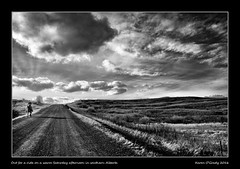 Out for a ride on a warm Saturday afternoon in southern Alberta (kgogrady) Tags: winter blackandwhite bw horse canada clouds rural landscape blackwhite nikon cowboy afternoon country ab alberta infrared prairie nikkor rider barbedwirefence dx 2016 westerncanada southernalberta d80 cans2s canadianprairies nikkor1870mmf3545gifed albertalandscapes picturesofalberta photosofalberta