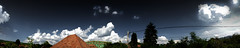May Panorama 1 (Mr. Szabi) Tags: trees light sky panorama cloud sunlight nature buildings skyscape landscape cloudy outdoor pano sunday wide clear cables midday
