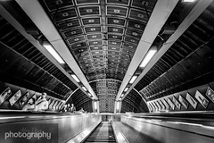 Perspective (Alex Chilli) Tags: bridge white black london up station stairs underground lights vanishingpoint metro escalator tube steps perspective ceiling