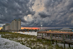 Stormy Clouds At Sunset (Stuart Schaefer Photography) Tags: sunset sky storm beach weather skyline landscape evening florida cloudy outdoor dusk condos storms ourdoors navarrebeach builing sonyalpha cloudscloudscape sonya7rii sonya7rm2