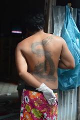 smoking dragon (the foreign photographer - ) Tags: man tattoo portraits thailand nikon dragon bangkok smoking doorway lard bang bua tattooed khlong bangkhen d3200 phrao