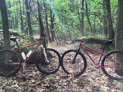 The SS on the right was the first MTB I ever built, circa 2009.  I tried talking its owner into a new WCW but he still digs this one, so maybe in a few more years.   Funny though at one point I wanted this bike erased from history, it's less than perfect,