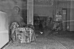 () Tags: street city people urban blackandwhite bw reflection male window monochrome face newspaper greece ioannina