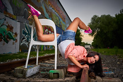 Dancing with the chair (CHCaptures) Tags: railroad woman graffiti model chair dancing outdoor graz sporty