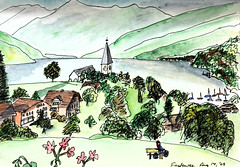 Pen and watercolor sketch at Faulensee, Berner Oberland, Switzerland, August 2009 (novarex1) Tags: flowers trees houses urban lake mountains alps art church watercolor schweiz switzerland sketch drawing sketching watercolour berner thunersee oberland faulensee