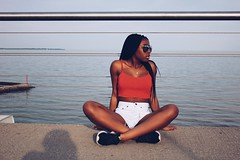 (cassandra.frater) Tags: bridge summer lake toronto ontario cute water girl beautiful sunglasses fashion fun pretty sitting lakeshore blackout blackgirl blackgirls melanin ootd tumblr