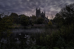 Worcester Cathedral (MarkWaidson) Tags: morning autumn mist sunrise river cathedral severn swans worcester