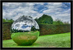 Alien Sphere YSP by Not Vital (SFB579 Namaste) Tags: blue summer sky sculpture green art metal modern reflections circle landscape globe artist seasons earth metallic sony yorkshire ground reflect chrome round shape compact modernist yorkshiresculpturepark notvital wakerfield