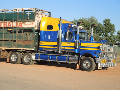 Western Star, of RoadTrains Australia. Sparkling in the Aussie sunshine at Fitzroy Crossing, WA (1)