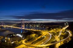 Going dark~ (edward.cheung) Tags: road sunset circle hongkong sony bluesky lighttrails nightview tsingmabridge tsingyi a6000