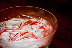 Glass of ice cold water (Victor Wong (sfe-co2)) Tags: red white cold macro texture ice wet water glass closeup bar frozen cool frost crystal drink beverage drop fresh clear drinks bead condensation icy liquid isolated thirsty freshness solid refreshment