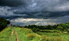 Storm Coming! (Nikki & Tom) Tags: uk light storm dogs tom rainbow jazz harris wiltshire embankment defences oldsarum