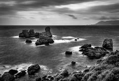 Stormy weather No.1 (Nick Panagou) Tags: longexposure sea sky seascape storm black beach nature water weather rock clouds contrast landscape blackwhite rocks shoreline aegean dramatic greece serene cloudysky waterscape greatphotographers thessaly bestshotoftheday blackandwhitenature magnesia canon400d bestphotographer naturegreece mtpilion cloudsstormssunsetssunrises mourtiasbeach southeastpilion