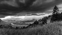 Rain is coming (hjuengst) Tags: summer blackandwhite mountain rain clouds switzerland sommer wolken liechtenstein regen schwarzweis bergblick masescha