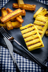 Fried and Grilled Polenta (RecipeTaster) Tags: blue italy black corn italia mais vegetarian grilled fried polenta glutenfree tyellow