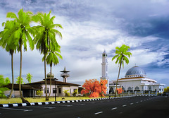 [INFRARED] Old & New (mozakim) Tags: road blue trees sky cloud green grass landscape ir nikon scenery day mosque infrared jeram selangor d90