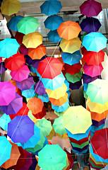 Umbrellas Australia on Collins June 29 2012 (Katebirdgirl ~ Kate Carey Peters) Tags: art photography rainbow arcade multicoloured melbourne photographic umbrellas photoart australiaoncollins