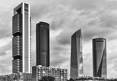 Parentescos (PHOTODRAMA *) Tags: madrid sky bw art skyline clouds crystal outdoor towers photodrama