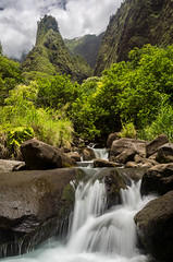 Iao Needle and Waterfall (Erik Pronske) Tags: park nature water landscape flow hawaii waterfall maui needle iao valley flowing