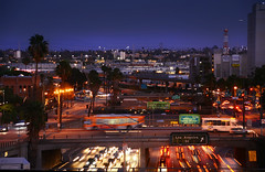 Los Angeles Bunker Hill (Jason Scheier) Tags: life lighting motion blur cars buses night lights la los moments mood moody nocturnal angeles streetlights hill 101 bunker freeway freeways converging overpasses