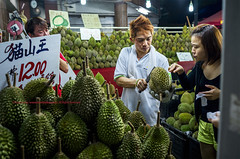 Pungent Season |  (francisling) Tags: street fruits night zeiss 35mm season t singapore asia king market sony cybershot durian southeast  stalls hawkers sonnar   rx1     dscrx1