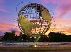 Unisphere (KaDeWeGirl) Tags: newyorkcity sunset sculpture globe stainlesssteel explore queens corona worldsfair unisphere flushingmeadowpark