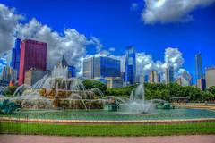 Buckingham fountain (flickaway1) Tags: park blue summer sky lake chicago tower fountain skyline clouds canon buildings illinois warm day 5 michigan towers millennium canvas buckingham trump willis lightroom t3i photomatix