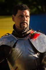 Sir Maxx got a flower and a favor from a maiden (Pahz) Tags: horses horse helmet armor lance sword knight shield renfaire joust bristolrenaissancefaire renfest jousting helm jousters thejousters encranche