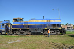 About to throw the switch for the siding (Michael Berry Railfan) Tags: quebec magog easterntownships mlw mma m420tr orfordexpress montrealmaineatlanticrailway oex26